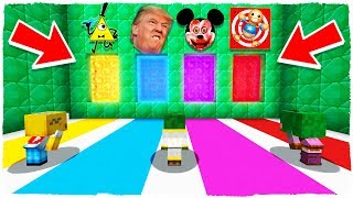 ¡NO ELIJAS LA DIMENSIÓN EQUIVOCADA! Kick the Buddy, Trump, Bill Cipher y Mickey.exe en Minecraft