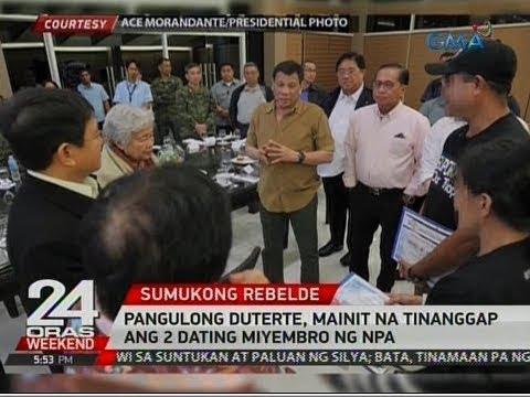24 Oras: Pang. Duterte, mainit na tinanggap ang 2 dating miyembro ng NPA