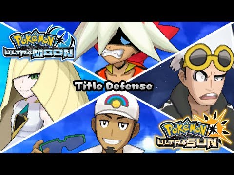 Pokemon UltraSun & UltraMoon - All Champion Title Defense Battles (HQ)