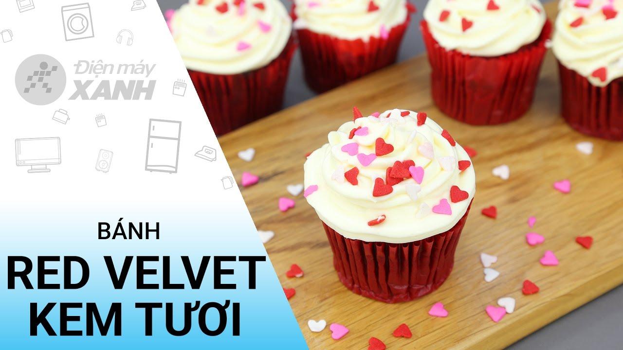 Cách làm bánh red velvet cupcake kem tươi | Điện máy XANH