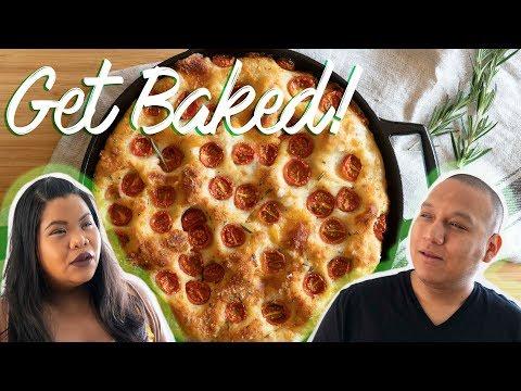 No-Knead Cheesy Tomato Bread | Get Baked