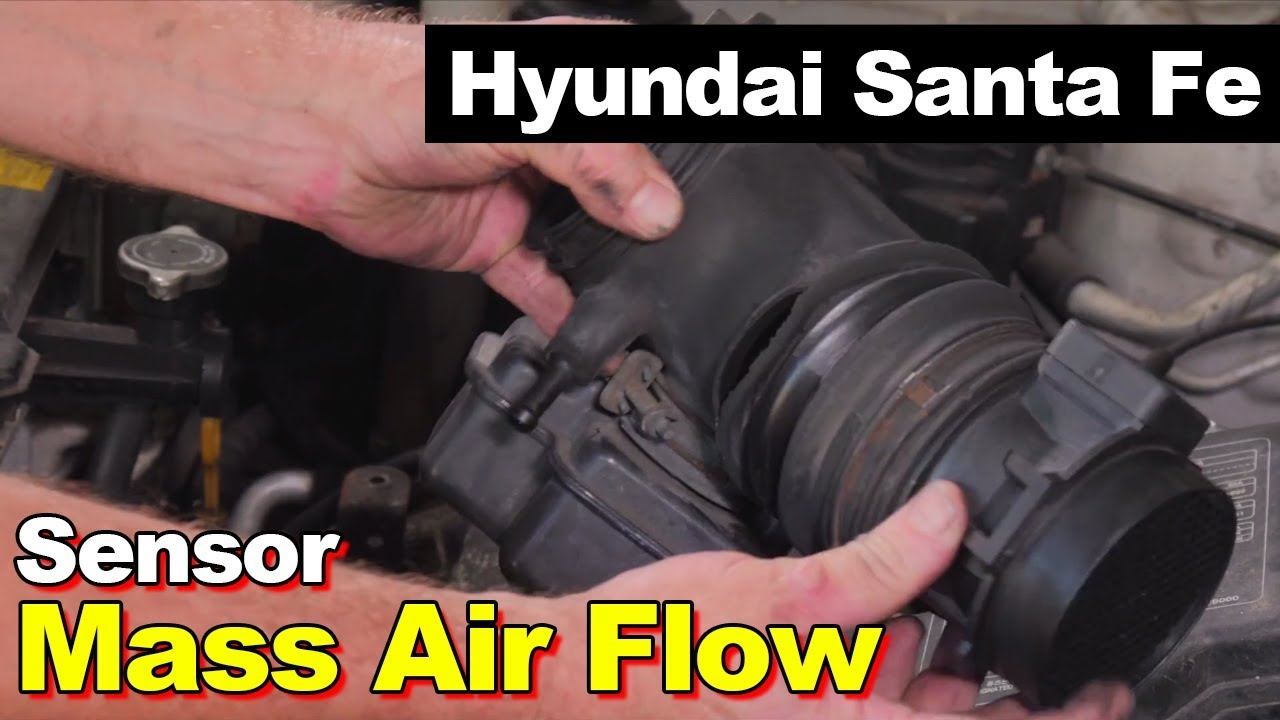M Airflow Meter Sensor on a Hyundai Santa Fe 2001-2006 - YouTube on