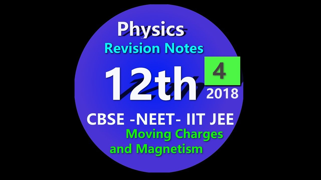 Class 12 Physics - Chapter 4 Moving Charges and Magnetism CBSE NCERT NEET -  notes - 15 minute read