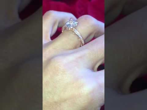 White Sapphire Diamonds Rose Gold Engagement Ring