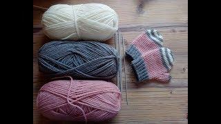 Вязание спицами. Вязанные варежки для детей до года. Часть 2