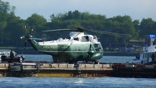 Barack Obama lands on New York Manhattan Heliport - Marine One Sikorsky H-3 Sea King