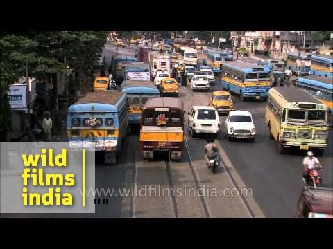 Busy traffic in Kolkata - West Bengal