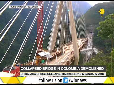 Huge explosion demolishes a collapsed bridge in Columbia