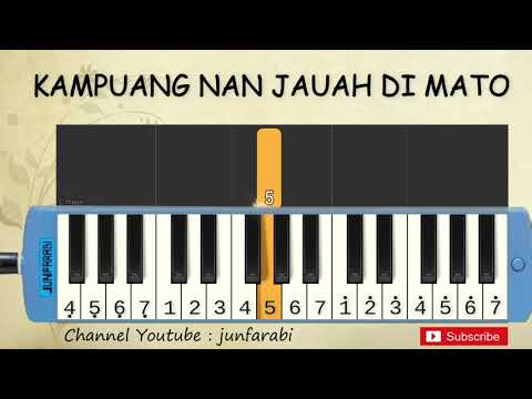 not pianika kampuang nan jauah di mato - lagu daerah - belajar pianika not angka