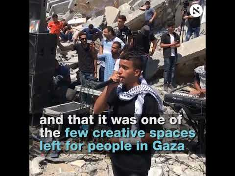 Performances continue on site of destroyed Gaza cultural center