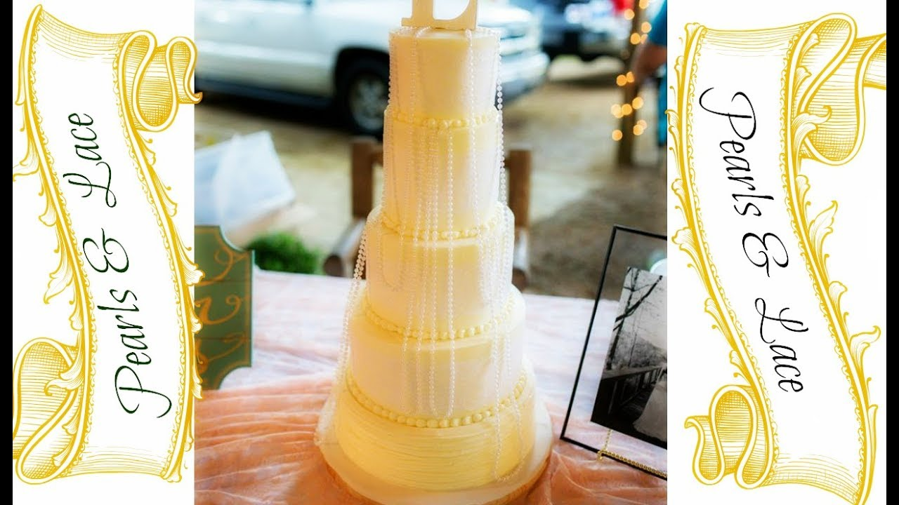Watch Me Make A Pearls & Lace Wedding Cake! - YouTube