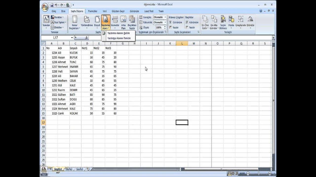 Microsoft Excel Calisma Sayfasi Ve Bicim Islemleri Youtube