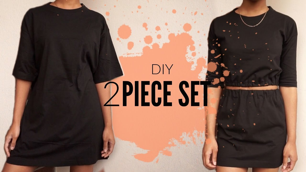 diy oversized t shirt to two piece set just j youtube. Black Bedroom Furniture Sets. Home Design Ideas