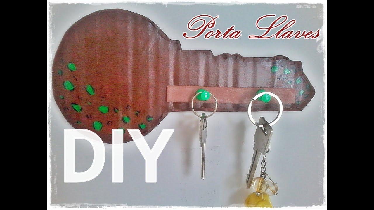 Diy porta llaves de cart n original youtube - Porta llaves pared ...