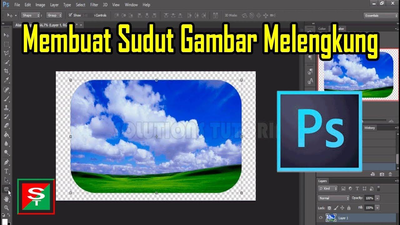 Cara Membuat Sudut Gambar Melengkung Di Adobe Photoshop Youtube