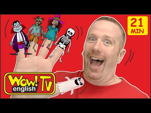 Finger Family Halloween Spooky Stories for Kids from Steve and Maggie | Speaking Wow English TV
