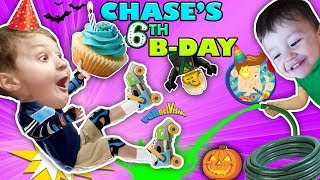 CHASE'S 6th BIRTHDAY! Learning 2 ROLLER SKATE on 1st day of FALL! Ouch!
