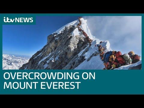 Striking image reveals reality of overcrowding on Mount Everest | ITV News