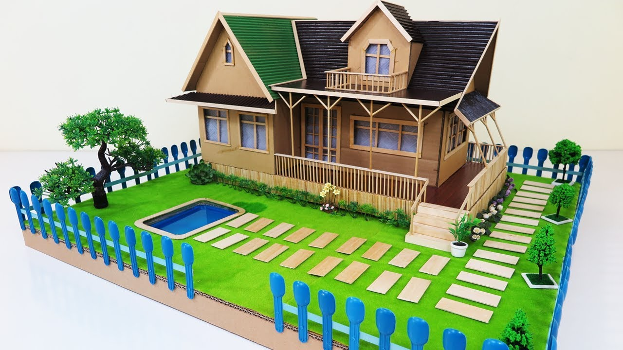 How to make a beautiful house with fairy garden swimming for Draw your dream house