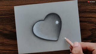 Heart Waterdrop drawing with Pencils - step by step