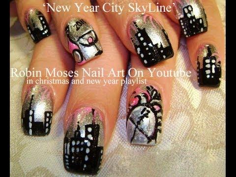 Nye Nails Design New Years Eve Nail Art Sky Line Tutorial Youtube