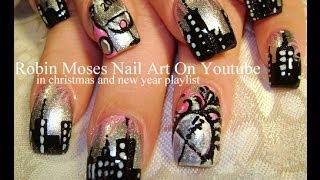 NYE nails Design New Years Eve Nail Art Sky line Tutorial