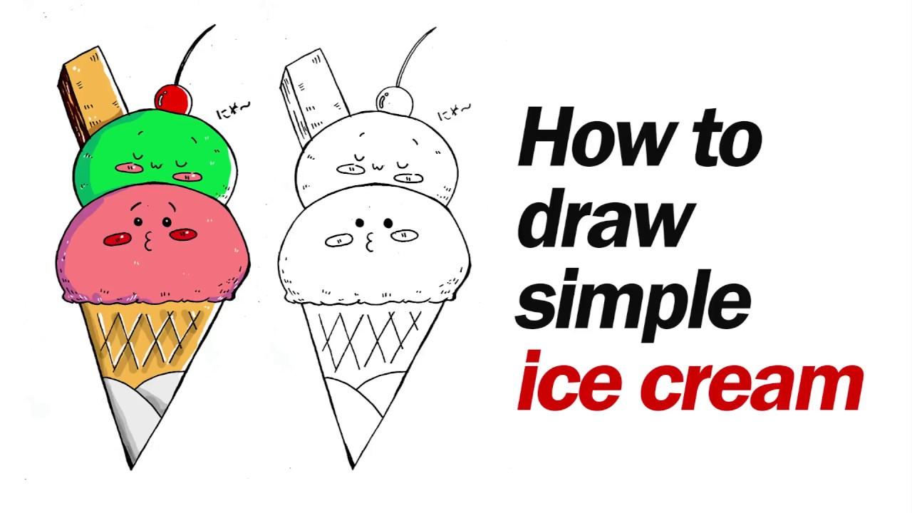 How To Draw Cute Ice Cream Easy Cara Mudah Menggambar Es Krim