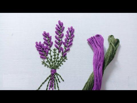 Hand Embroidery - Lavender/ Hướng Dẫn Thêu Hoa Oải Hương - Thêu Tay Hiện đại