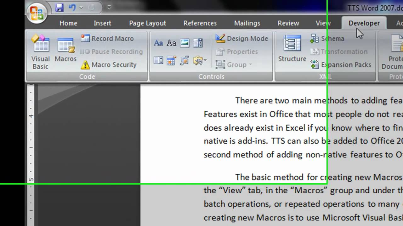 Adding Text to Speech to Microsoft Word 2007 Tutorial