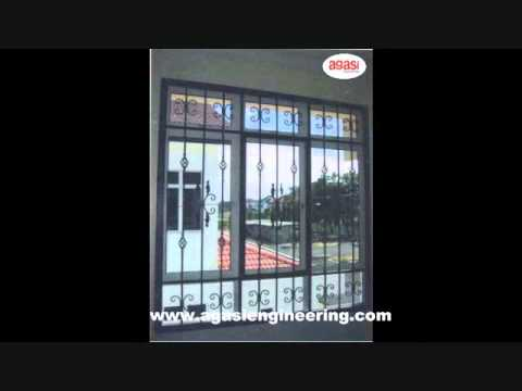 Agasi engineering window steel grill youtube for Tubular window design