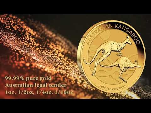 Close up look at the 2018 Australian Kangaroo 1oz Gold Bullion Coin