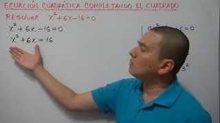 Solución de una ecuación de segundo grado completando el trinomio cuadrado perfecto. Ejemplo 1
