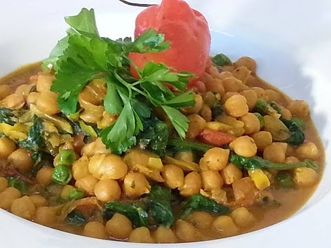Chick Peas Curry With Spinach | Recipes By Chef Ricardo