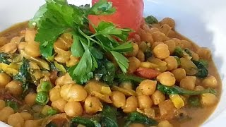 Chick Peas Curry  With Spinach