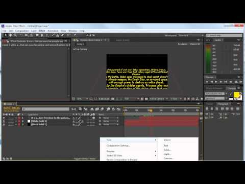 Star wars opening crawl After effects Tutorial German