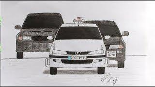 Как нарисовать машины из фильма Такси - Сomment dessiner un Taxi