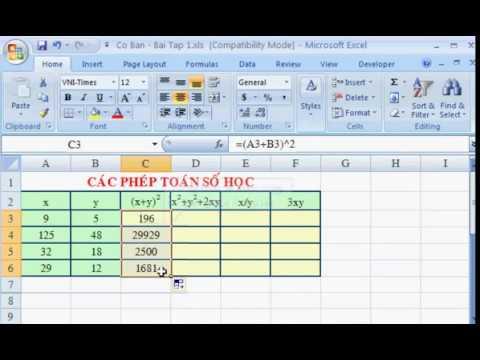 Các Hàm cơ bản trong Excel – Cộng , trừ , nhân , chia -Tuhocexcel.net