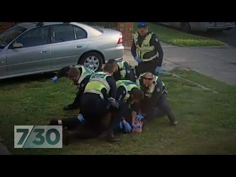 Melbourne police captured on CCTV taking down disability pensioner