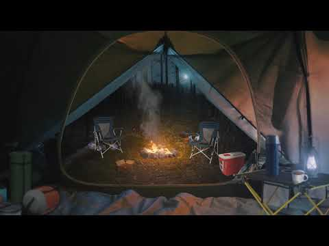 Camping in the Forest 🏕️🌲[ASMR] Relaxing Ambience ⋄ Nature 🔥 Campfire 🎒 backpack + Rain