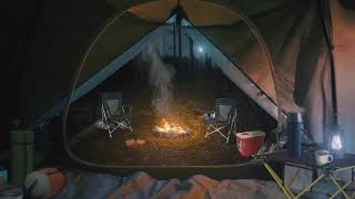 Camping in the Foŗest 🏕️🌲[ASMR] Relaxing Ambience ⋄ Nature 🔥 Campfire 🎒 backpack + Rain