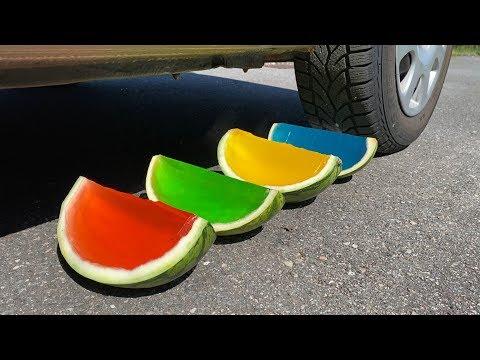 EXPERIMENT: Car Vs Watermelon Rainbow Jelly