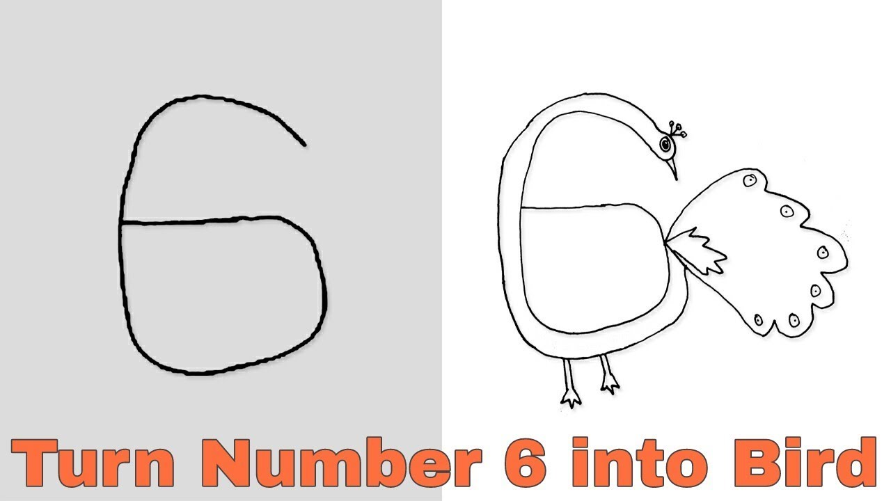 how to turn number 6 into cartoon bird easy drawing step by step for kids