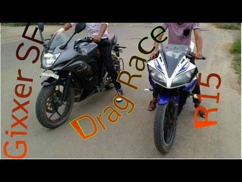 R15 VS GIXXER DRAG RACE