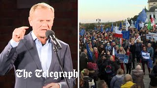video: Watch: Donald Tusk joined thousands at pro-EU protest in Warsaw