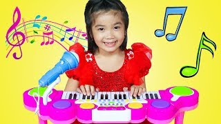 Hana & Cherry Pretend Play with Guitar Piano & Drum Toy Set – Nursery Rhyme Challenge