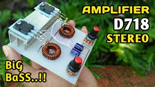DIY Powerful Ultra Bass Stereo Amplifier using D718 Transistor With Volume Controller