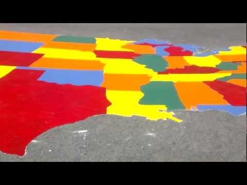 USA map painted on the blacktop at Caleb Greenwood.