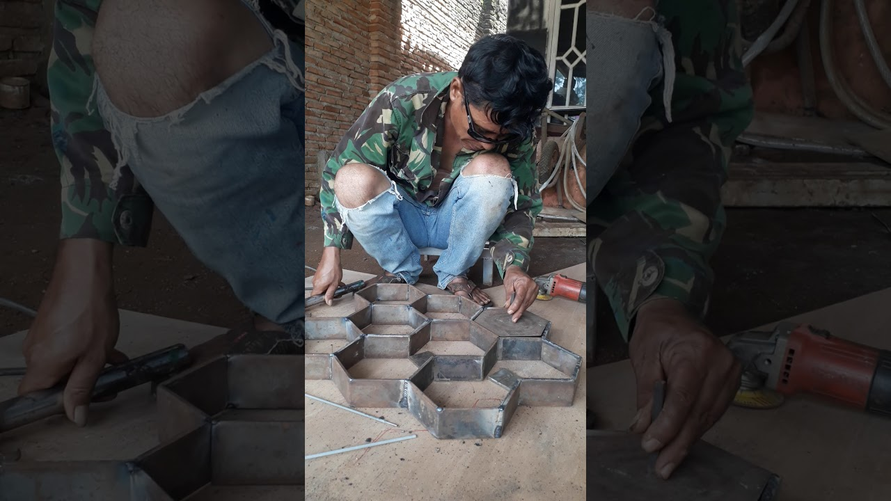 tutorial pembikinan paving blok segi enam by ALONG chanel - YouTube