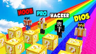 ¡DESAFÍO CON LUCKY BLOCKS DE NOOB VS PRO VS HACKER VS DIOS! ❓😱 LOS COMPAS EN MINECRAFT