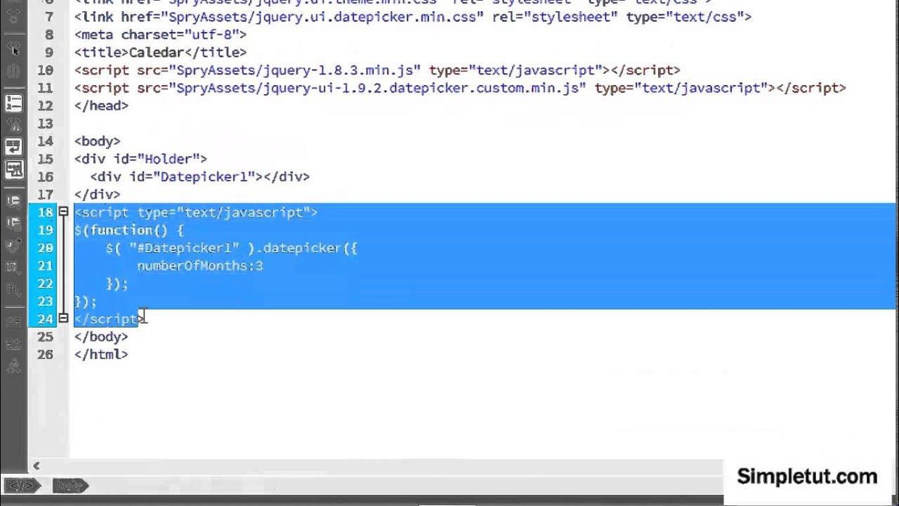 How to Build a jQuery Availability Calendar Using Dreamweaver CC - Easy  Step-By-Step Tutorial